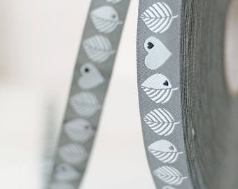 WebBand Farbenmix ByGraziela leaves and Hearts grey