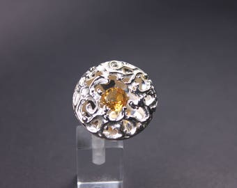 100 % Handmade Silver ring with golden citrine
