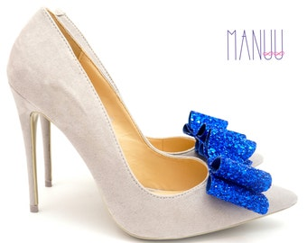 Dark blue bows - shoe clips Manuu, Bridal shoe clips, Wedding shoe clips