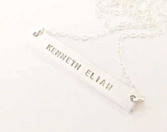 Double-Sided Sterling Silver Bar Necklace - Personalized Hand Stamped Custom Jewelry - Name & Date Secret Message - Trendy Name Necklace