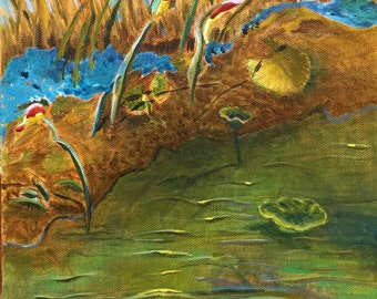 River Painting original acrylic painting Down by the river