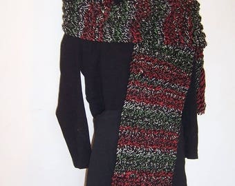 Large black MULTICOLOR scarf and hat