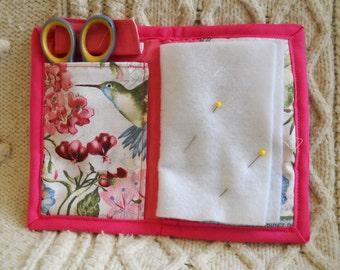 Pink Hummingbirds Needle Book, Needle Case, Sewing Organizer