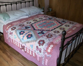 Handmade VINTAGE hand pieced patchwork, remade into a beautiful quilt