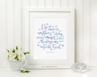 Bible Verse Wall Art Printable Do Not Be Anxious About Anything Philippians 4:6 Scripture Verse Art Encouragement Gift Christian Woman Gift