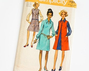 Shop SALE Vintage 1970s Womens Size 40 Dress and Jumper Simplicity Sewing Pattern 9028 FACTORY Folds / b44 w36