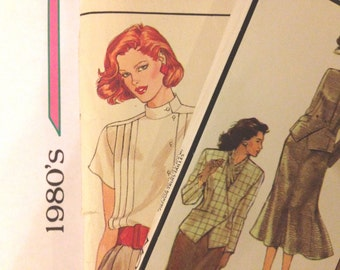 2-lot 1980s Blouses Skirts Jackets Un-cut Sewing Patterns
