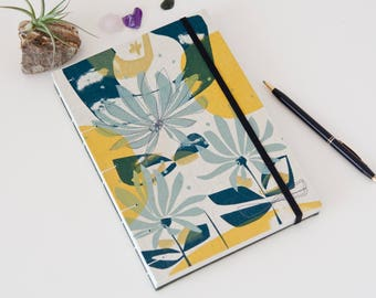 Floral Writing Journal. Screen Printed Fabric. Coptic Notebook. Unlined Journal Diary.