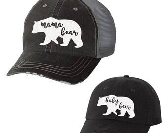 Mama Bear& Baby Bear Combo Baseball Hats | Ladies | Trucker | Mom Life | Momma