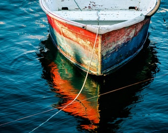 Boat Photo, Ocean Art, Red Boat Photography, Teal Blue Decor, Nautical Wall Decor Red White Blue Boat Dory Photo Ocean Decor, Large Wall Art