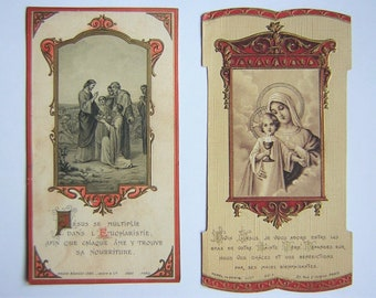 """2 beautiful antique holy pictures, 4.72"""""""