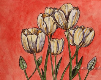 Tulip Flowers on Red - Original Drawing