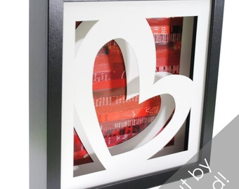 sweetheart shadowbox- made with recycled magazines, handcut, colorful, love, heart, red