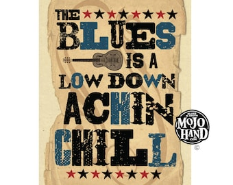 Blues Music - folk art poster 12x18 by Grego from mojohand.com
