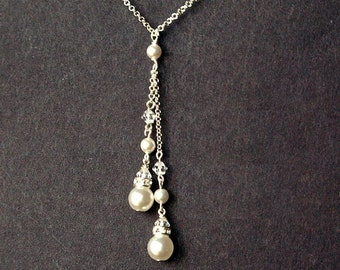 Classic Pearl Bridal Necklace, Lariat Wedding Necklace, Swarovski Pearl Sterling Silver Necklace, White Ivory or Champagne Pearl, Parfait