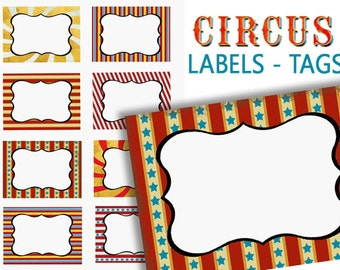 Circus Labels, Digital Food Labels, Carnival Party Labels, Printable Circus Labels, colorful Gift Tags, Place Cards, Name Tags, supplies