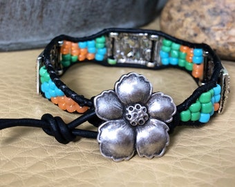 Flower and Beaded Leather Wrap Bracelet Ready for Spring!