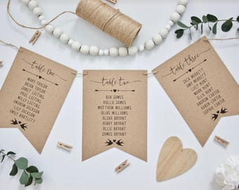 PRINTED Rustic Wedding Table Seating Plan Cards in Bunting Pennant Style - Recycled Kraft Card Twine & Black Ink Vintage Wedding Calligraphy