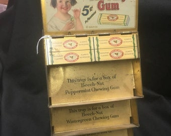 ON SALE Beech Nut Gum Metal Advertising Rack with Marquee Sign c 1930's ~ Near mint condition!