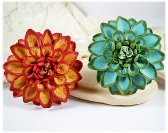 Large Dahlia Brooch Pin - 2 inch Flower Brooch Many Colors