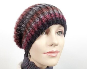 Chunky Hand Knit Hat  -  Unisex Ribbed Striped Hat Size Med/Lg in Red, Rust & Grey Wool - Item 1272c
