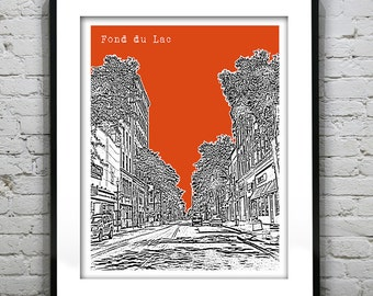 Fond Du Lac Wisconsin Poster Print Art  Skyline Version 1