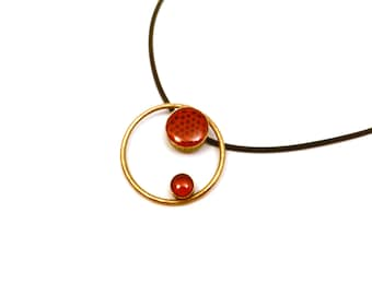 Gravity Necklace in Red (OOAK 3D printed pendant with enamel)