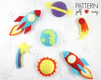 Space Mobile Pattern  Space Baby Mobile Pattern  Planet Mobile Pattern  Space Toy Pattern  Felt Rocketship Pattern  Planets Pattern