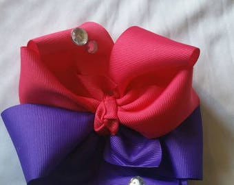 Hot pink and purple Octopus hair bow toddler/big girl