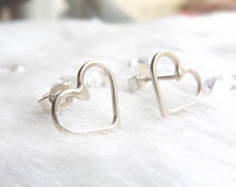Open heart earrings- Everyday earrings- Love heart studs- Gift for women- Ethical jewellery- Love earrings- Love studs- Geometric earrings