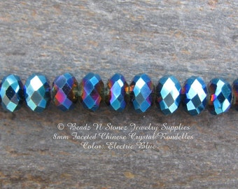 10mm Faceted Rondelle Beads, Electric Blue, China Glass Crystals