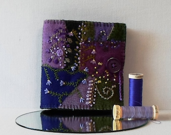 Handmade Felted Wool Crazy Patch Needle Book