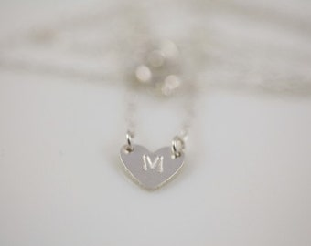 heart necklace, dainty necklace, monogram necklace - sterling silver necklace