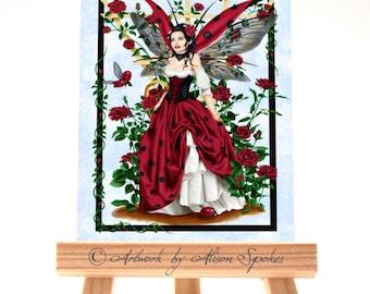 Ladybug Fairy Red Rose Fairy ACEO ATC Art Card