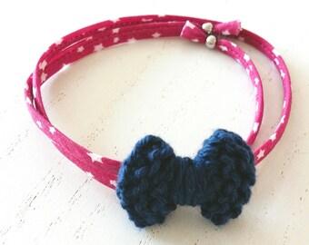 Bracelet Nœud Coton Bleu et Rose - A nouer - Agathe et Ana