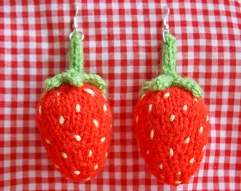 Large Knitted Strawberry Earrings
