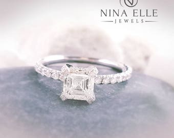 1.56ctw Asscher Cut Diamond Engagement Ring With Pave Side Diamonds A43