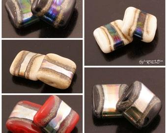 Handmade Lampwork Beads SRA Lampwork Bead Pair Metallic Glass Beads Flat Square Beads Black Beads Red Beads Ivory Beads Heather Behrendt