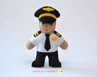Felt PILOT, CAPTAIN, stuffed felt Pilot magnet or ornament, Pilot toy,People,Professions,Pilot magnet,Nursery decor,Pilot doll,Felt Doll