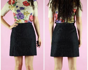 90s DKNY Brand Black Silk Floral Mini Skirt Vintage Clothing Retro Designer