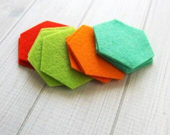 Felt Hexagons, 1-inch, Die Cut Felt Shapes, Your Choice of Colors, Geometric Shapes, Felt Hexies