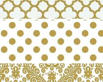 Reception Event Decor/Designer Fabric Table Runner-Weddings-Showers-Bridal-Baby-Gold-White-Damask-Gold White-Quatrefoil-Choose Size/Fabric