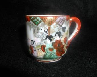 Vintage Miniature Japanese Geisha Teacup Hand Painted Porcelain One Ounce Capacity
