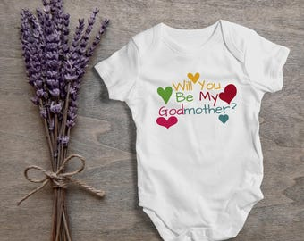 Will you be my godmother?,funny baby bodysuit,one piece,humor,new born,cute,burp,outfit,game ,baby shower gift,cute baby,cute gift