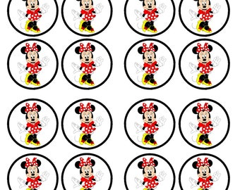 Minnie Mouse #2 Edible Wafer Rice Paper Cake Cupcake Toppers x 24