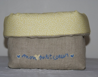 """Fabric basket Organizer quilted linen """"sweetheart"""""""