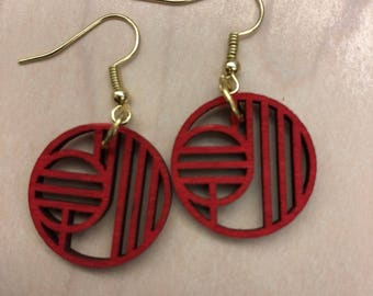 Red Circle Wooden Earrings