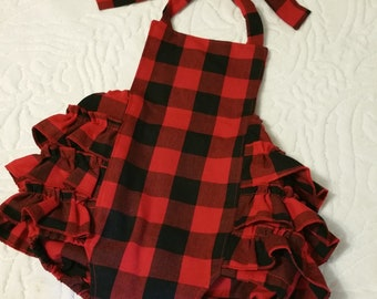 Baby Romper, Bubble Romper, Spring Romper, Baby Girl Romper, Red and Black Romper,