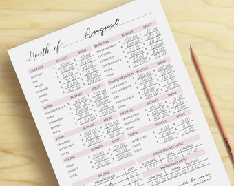 Monthly Budget Planner, Budget Printable, Money Tracker, Finance Printable, A5, A4, Letter Size, Instant Download, Printable Planner Inserts