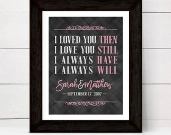 Personalized 10 year anniversary gift for her women wife, wall art canvas, I love you still